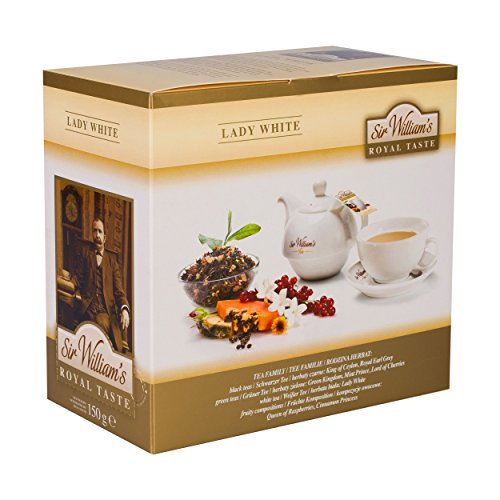 SIR WILLIAM'S ROYAL TASTE LADY WHITE 50 Stk. Beuteltee. Teebeutel mit einzigartiger Aufhängung für Teekanne oder Teetasse (Bai Ananas)