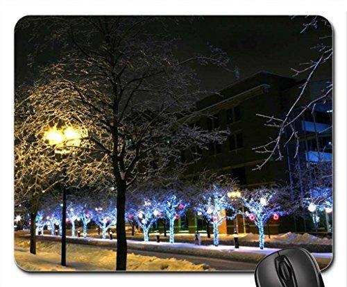 Mauspad, Mauspad, Motiv: Mesllings Weihnachtsbeleuchtung auf Bäumen spät bei Nacht, 9,25 x 19,75 cm -