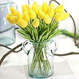 Unechte Blumen,Künstliche Deko Blumen Gefälschte Blumen Blumenstrauß Seide Tulpe Wirkliches Berührungsgefühlen, Braut Hochzeitsblumenstrauß für Haus Garten Party Blumenschmuck 10 Stück (Gelb)