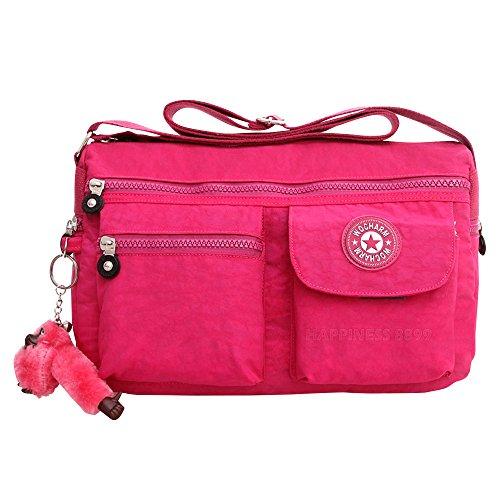 3217d5d82c Vintage Waterproof Nylon Shoulder Crossbody Messenger Bag Purse Women  Casual Handbag (Hot Pink) - Buy Online in KSA. Apparel products in Saudi  Arabia.
