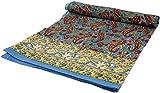 Guru-Shop Blockdruck Tagesdecke, Bett & Sofaüberwurf, Handgearbeiteter Wandbehang, Wandtuch - Blau/weinrot Paisley, Baumwolle, Größe: Single 150x200 cm, Tagesdecken mit Blockdruck