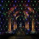 Moontang Weihnachten Net Lichter 8 * 10 meter 2600 LED Fairy Lichterketten Outdoor Party Weihnachten Hochzeit Hausgarten Dekorationen 8 Modi nachtlichter Festival Geschenk (blau, bunt)
