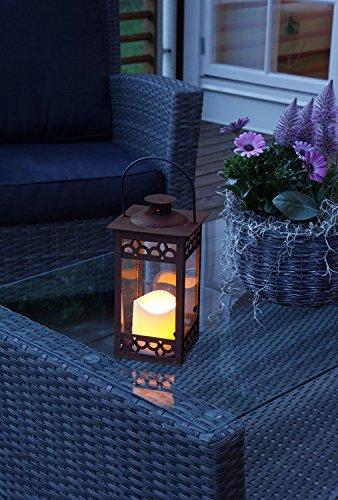 PRIME - Versand durch Amazon : Romantisch dekorative LED Laterne 30 cm x 12 cm aus Metall und Glas - mit LED - Kerze flackernd - in dunkelbraun - inklusive Timer, für Innen und Außen - Bereich - OUTDOOR - NEU - aus dem KAMACA-SHOP