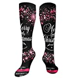 Knee High Socks Christmas Invitation Card Witch Wreaths Knee High Compression Stockings Athletic Socks Personalized Gift Socks Men Women Teens Girls...