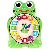 fish Bambino di legno del fumetto Orologio animali digitali Numero Clock Puzzle Forma geometrica puzzle di corrispondenza giocattolo educativo del gioco