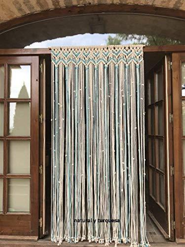 cortina de macrame blanca