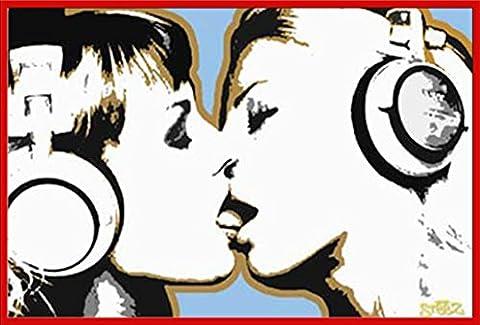Audio dJ girls poster kiss accessoires de fixation Cadre plastique/rouge