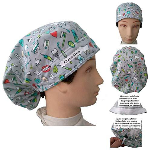 Hut des Zahnarztes Zahnarzt Zahnmedizinische Instrumente für langes Haar, saugfähig auf der Stirn. Verstellbarer Spanner Angepasst mit Name in Option