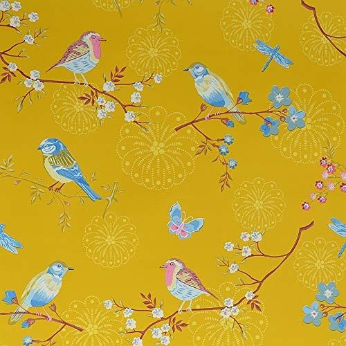 Carta da parati cinese cinese giallo fiori blu uccelli ambientale carta da parati non tessuto soggiorno camera da letto tv sfondo muro studio sfondi carta (Color : Yellow)