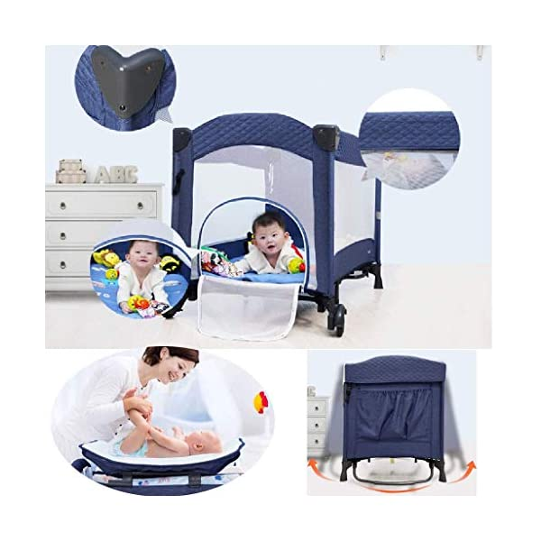 Yyqt Baby Cot,Baby Changing Station Travel Cot Foldable, Padded Borders, Carry Bag, Rounded Edges, 6 Designs Yyqt ♥ Premium & Durable Material:The cot made of iron pipe and Oxford cloth, sturdy and stable, which also guarantees a long life ♥See-through safety mesh:It features mesh cloth on both sides, this netted areas allow your baby to see out clearly as well as an onlooker to see in to her/him, and it also offers great ventilation for your baby. ♥Easy to Move:It designed in two wheels and two legs, you can move it around easily without any problems with the help of two wheels, and there is no issue to worry the stability due to the two sturdy legs. 3
