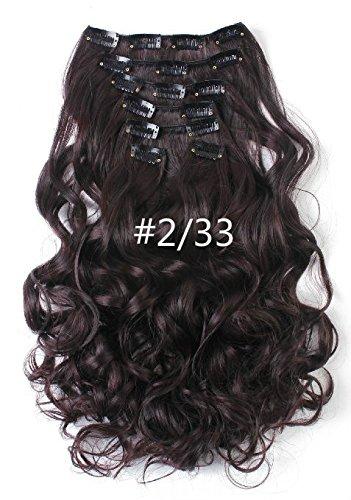 50,8 cm bouclés Tête complète Clip en Extensions de cheveux synthétiques de 7 pcs 140 g