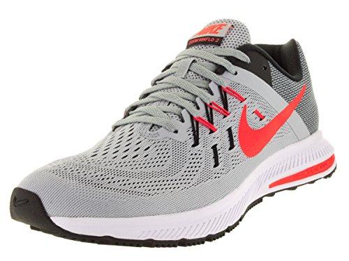Nike Zoom Winflo 2, Scarpe da Corsa Uomo, Talla Grigio / Arancione / Nero / Bianco (Wlf Grey/Brght Crmsn-Blk-White)