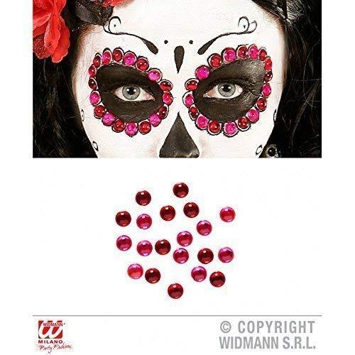 Lively Moments 40 Strasssteine / Klebesteine / Glitzersteine in rot - pink Fasching / Halloween