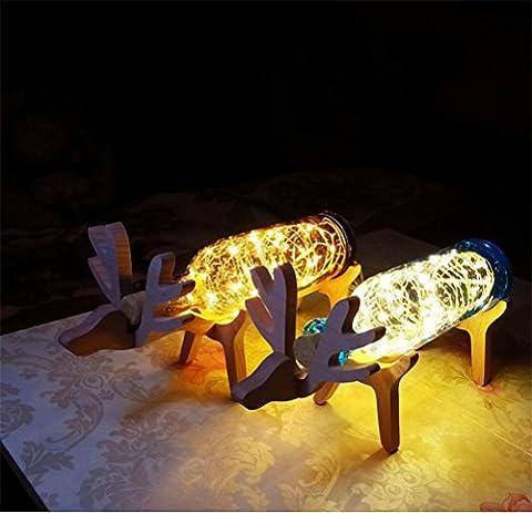 GJY LED ÉCLAIRAGEUsb Cerf Lumière De Nuit En Bois Verre Bouteille Cadre En Bois Lumière Créative , Warm White,warm white