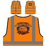 Beatdown Skull Ghetto Personalizzato Hi Visibilità Giacca Gilet Arancione di sicurezza u640vo