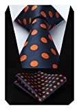 HISDERN Dot Floral Wedding Tie Panuelo para hombres Corbata y bolsillo cuadrado Azul marino /...