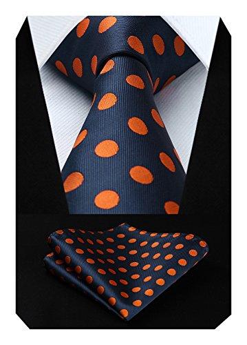 Polka Dots Krawatte Taschentuch Herren Krawatte & Einstecktuch Set Marineblau und Orange (Orange Polka Dots)