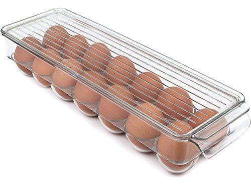 TankerStreet Eierhalter Aufbewahrungsbehälter mit Deckel für Kühlschrank 14 Eierbehälter PET mit integriertem Griff, stapelbar, BPA-frei, transparent