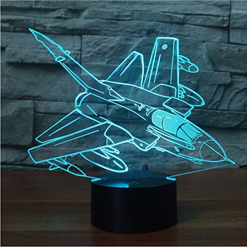 Lámpara de ilusión óptica Forma de avión creativo Luz de noche 3D...