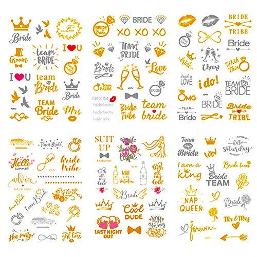 Simuer Bride Tribe Flash Tattoos, 6 Blatt Klebe temporäre Tattoo Tätowierung Wasserdichte metallischen Aufkleber für Bachelorette Party Kinder Frauen Mädchen Gold Silber -