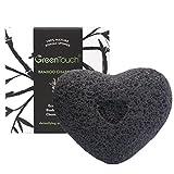 Esponja Natural de Konjac de GreenTouch Para la Cara con el Carbón Activado de Bambú | Elimina el aceite y cutis | Hace la limpieza profunda en forma de corazón | Fibra vegetal