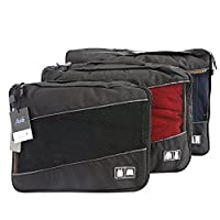 Ada 3 Set Packing Cubes Travel Organizers Compression Pouches for Luggage Slim, Medium & Large 001Black