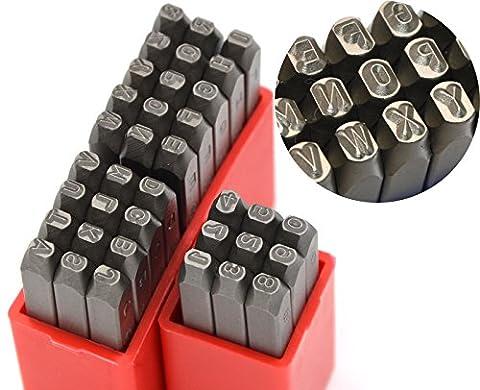 Wokesi 3/162,6cm (1mm) haute Dureté Acier carbone Nombre et lettre majuscules Marteau à panne ronde Main Punch Ensemble de tampons en métal pour la confection de moule à Jewel Die