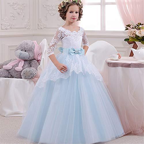Melodycp Brautkleid für Kinder Mädchen Ärmel Sieben Punkte Spitze Spitze Kleid Kleid Prinzessin Kleid Flauschig 8-9T - Brautkleider ärmeln