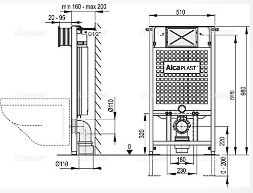 WC Vorwandelement für Trockenbau 100 cm inklusive Betätigungsplatte Chrom Matt Typ Oval Unterputzspülkasten Spülkasten Wand WC hängend Schallschutz