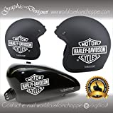 2 ADESIVI DECAL STICKERS BAR AND SHIELD HARLEY DAVIDSON DA SERBATOIO CASCO MOTO CUSTOM (BIANCO)