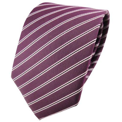 TigerTie schöne Krawatte in pflaume violett silberweiß schwarz gestreift - Binder Tie