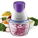 Zerkleinerer elektrisch, Rackaphile Universalzerkleinerer 320W, 2 Edelstahl-Messer, Multi-Zerkleinerer, schneider, Fleischwolf, Küchenhelfer für Obst, Gemüse und Fleisch, lila/weiß