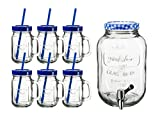 Domestic Professional by Mäser, Serie Summer Fun, Set di bicchiere 45CL trasparente con manico e muso a vite, 1Dispenser per bevande, 4L