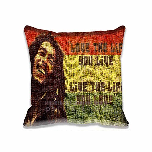 Love Life Bob Marley Quote Pillow case/Fundas para almohada Printed Cute movie Pillow Shams Comforter Bedroom & Living Room Decorative Bed Pillow Covers Two Sides