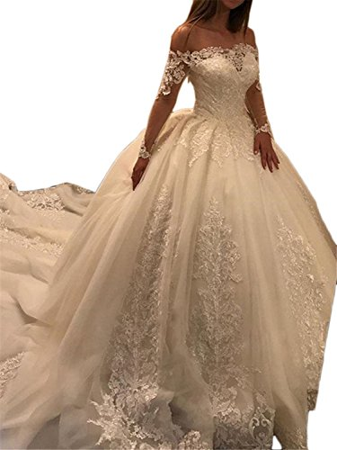 Annxrose Damen Lange Ärmel Off-The-Schulter Tüll Pailletten Appliques Ballkleid Brautkleid...