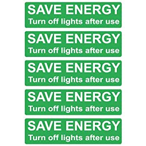 save energy light switch stickers pk 5 turn off light laminated decals kitchen. Black Bedroom Furniture Sets. Home Design Ideas