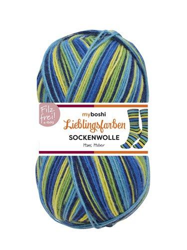 Lieblingsfarben Socken-Wolle 4-Fädig Häkel-Strickgarn für Strümpfe je 100 g Pro Knäuel und 420 m Lauflänge, Maschinenwaschbar bis 40 Grad …Hans Huber