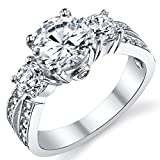Ultimate Metals Co. 1.50 Carat Round Cubic Zirconia Past, Present, Future Sterling Silver 925 Wedding Engagement Ring
