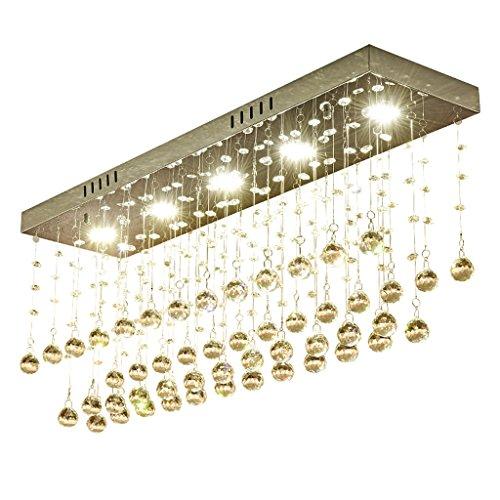 Rechteck-lampe Perlen (ZBB# LED Kristall Kronleuchter, Rechteck Wohnzimmer Restaurant Kristall Kronleuchter 20 breite weiße Licht G9 Lampe Perlen ( größe : 60*15CM ))