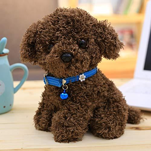 hsvgjsfa Süße Teddy Hund, Puppe Plüsch Spielzeug, Welpen Super-Haar-Puppe, Puppe, Kinder, Geburtstagsgeschenk Dunkelbraun blau 30 cm -