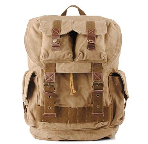 iBaste Sac à dos en toile sac de loisir multifonction sac de voyage sacoche d'alpinisme sac de randonnée spécial sac rétro unisexe (Kaki)
