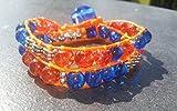 PowerofLove Design*Beadwork-crackled-Glasperlen-Wickelarmband-Geschenkidee-Baumwolle-verspielt-Blau-Orange-Handgemacht-Damen