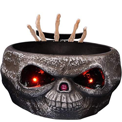 ZTMN Addin Candy Jar Halloween Obstschalen Dish Obstteller Obstschale Obstkorb Emitting Decoration (Farbe: GRAU)