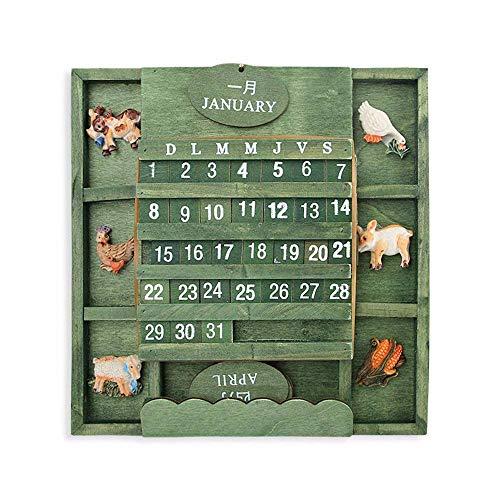 Samine Wandkalender, Holz, Grün, Vintage, europäischer Stil, Holzkalender für Zuhause, Wohnzimmer, Dekoration, 1 Stück