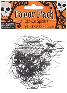 24 grapas con arañas de plástico - chucherías de Halloween - juguetes de bolsa de regalos
