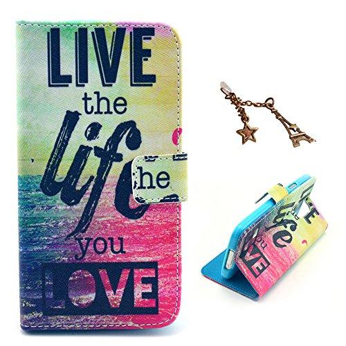 Uming® Il modello della stampa della custodia per armi variopinta della copertura Holster Cover Case ( Live the Life You Love - per Apple Iphone 4S 4G 4 IPhone4 IPhone4S Apple4S ) Flip-artificiale in  Live the Life You Love