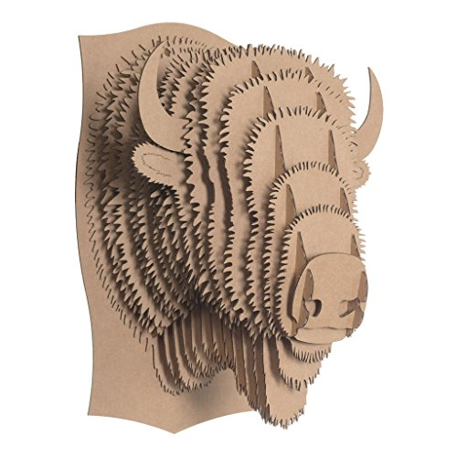 CARDBOARD SAFARI recyceltem Karton Tier TAXIDERMIE Bison Trophy Kopf, Billy Medium Braun -