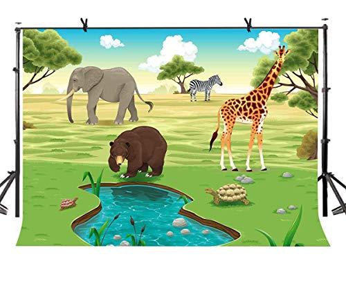 EdCott 7x5ft Dschungel Safari Kulisse für Fotografie Tropischer Wald Wilde Tiere Hintergrund Jungen Geburtstag Themen Party Photobooth Requisiten LYZY0294