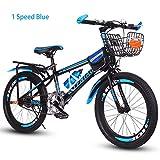 Bike Kinderfahrräder Mountainbikes Kid, Scheibenbremsen,18,20 Zoll,Unterschiedliche Geschwindigkeit,Rot, Blau, Grün,Blue1speed,18In