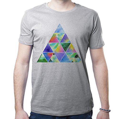 Illuminati Triangle Art Majestic Many Colourful Triangles Herren T-Shirt Grau